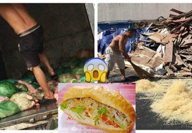 Dùng chổi quét rác, mang dép giẫm lên bì lợn, ai thích ăn bánh mì bì, cơm tấm sườn bì coi chừng ngộ độc ung thư nha