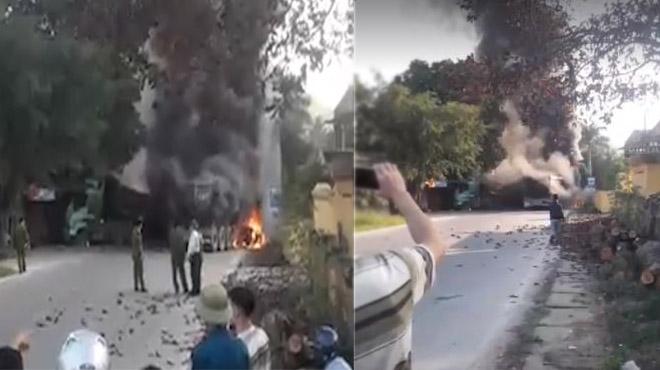 Phú Thọ: Tai nạn kinh hoàng 4 ô tô tông nhau liên hoàn, bốc cháy ngùn ngụt giữa đường